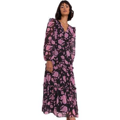 Floral Spot Print Tiered Midi Dress