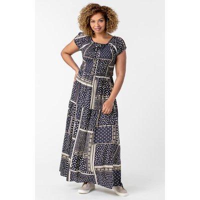 Curve Shirred Patchwork Bardot Dress