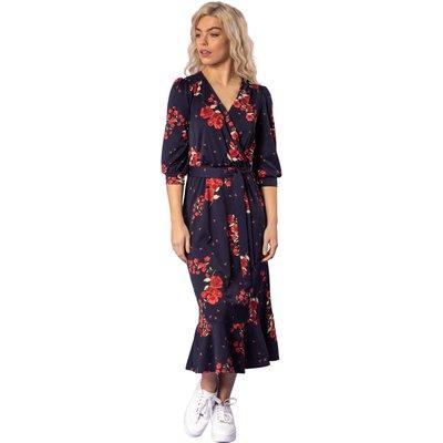 Floral Fluted Hem Midi Dress