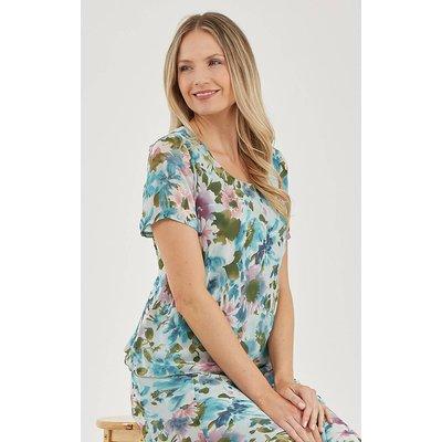 Julianna Floral Print Chiffon Top
