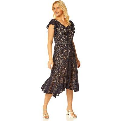 Lace Hi Low Hem Midi Dress