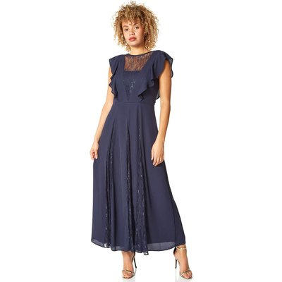 Chiffon Frill Lace Embellished Maxi Dress