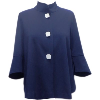 High Neck Button Detail Swing Jacket