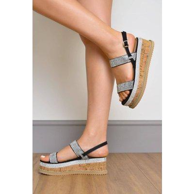 Faux Suede Diamante Strap Flatform Sandals