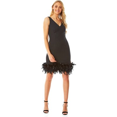 Fitted Feather Hem Dress