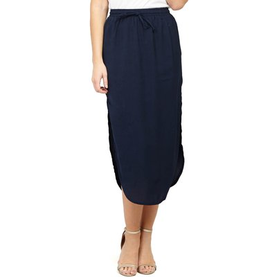 Izabel London Curved Hem Midi Skirt