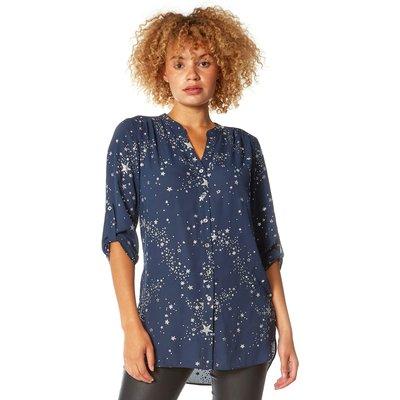 Glitter Star Print Button Through Blouse