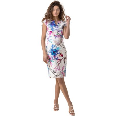 Floral Print Fitted Scuba Dress