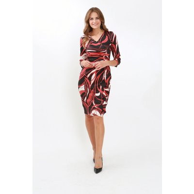 Julianna Swirl Print 3/4 Sleeve Ruched Dress