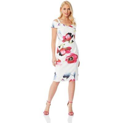 Cold Shoulder Floral Scuba Dress