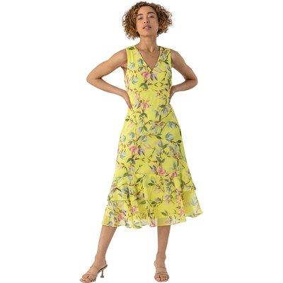Floral Print Frill Hem Dress