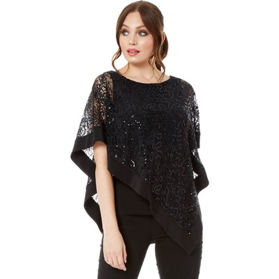 Lace Sequin Overlay Top