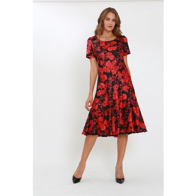 Julianna Floral Satin Bias Cut Midi Dress