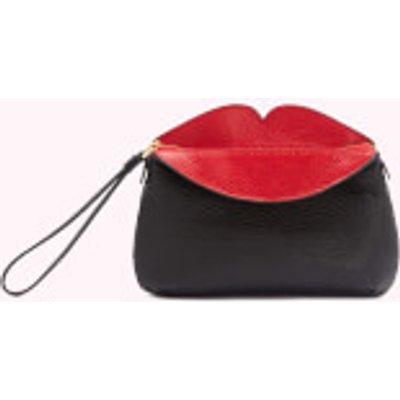 Lulu Guinness Women s Peekaboo Lip Clover Clutch Bag   Black Red - 5060500337995