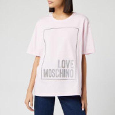 Love Moschino Women s Logo Box T Shirt   Pink   IT 42 UK10 - 8054807182249
