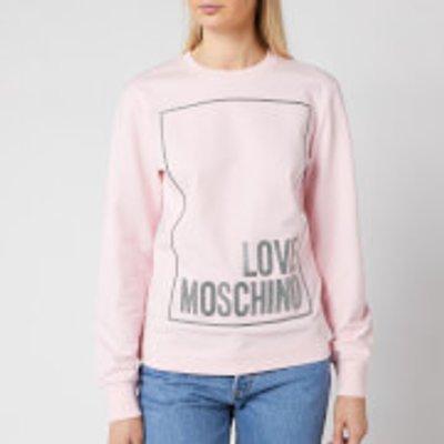 Love Moschino Women s Logo Box Sweatshirt   Pink   IT 46  UK14 - 8054807178617