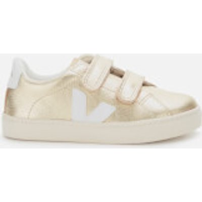 Veja Kid's Esplar Velcro Leather Trainers - Gold/White - UK 2.5 Kids