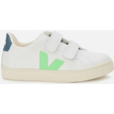 Veja Kid's Esplar Velcro Leather Trainers - Extra White/Absynthe/California - UK 2.5 Kids