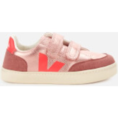 Veja Kid's V12 Velcro Leather Trainers - Nacre/Rose Fluo - UK 2.5 Kids