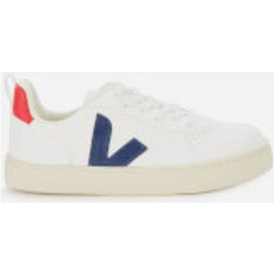 Veja Kid's V10 Lace Leather Trainers - White/Cobalt/Pekin - UK 1.5 Kids
