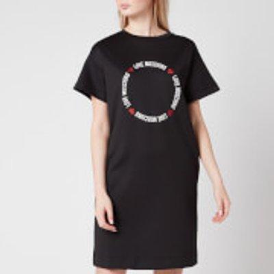 Love Moschino Women s Round Logo T Shirt Dress   Black   IT 44 UK12 - 8054807431606