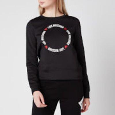 Love Moschino Women s Round Logo Sweatshirt   Black   IT 40 UK8 - 8054807384971