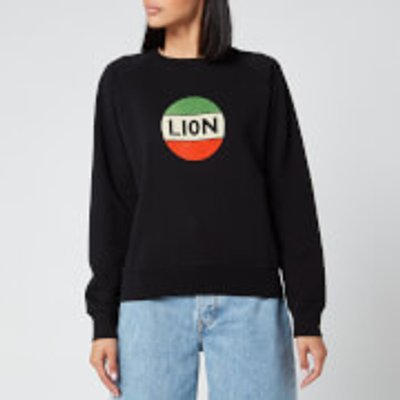 Bella Freud Women's Lion Badge Flock Sweatshirt - Black/Multi - XS