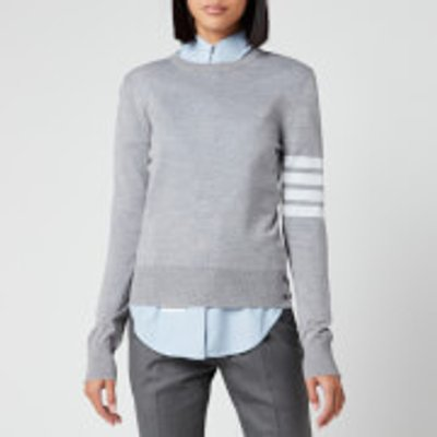 Thom Browne Women's Relaxed Fit Crew Neck Pullover - Light Grey - IT 36/UK 4