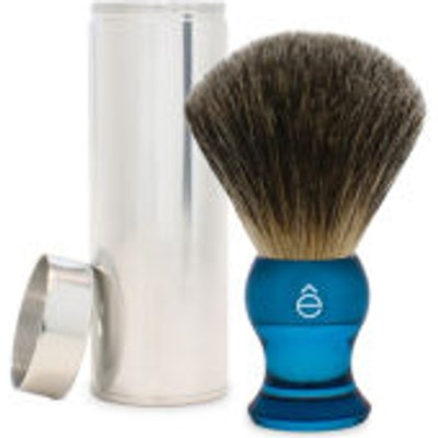 eShave Travel Fine Badger Hair Shaving Brush with Canister  Blue  - 613443800115