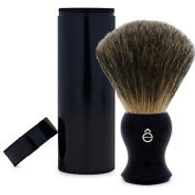 eShave Travel Fine Badger Hair Shaving Brush with Canister  Black  - 613443800191