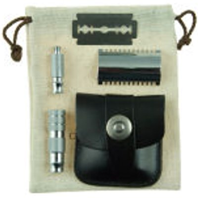 Geo  F  Trumper Double Sided Travel Razor in Leather Case - 5038607640058