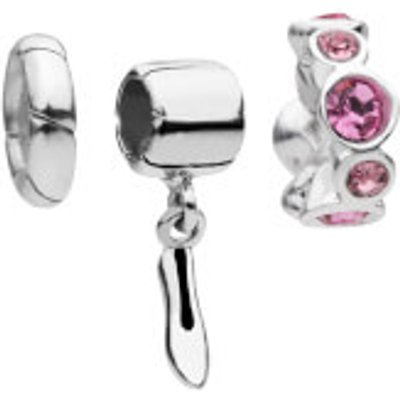 Amadora Shoe and Rose Crystal Set Of Three Charms    One Size   Silver - 10354884