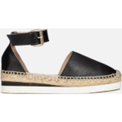 See By Chloé Women's Leather Espadrille Flat Sandals - Black - 4 - Black
