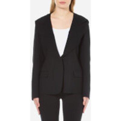 DKNY Women s Long Sleeve Collared Jacket with Hood   Black   UK 6   Black - 795731657905