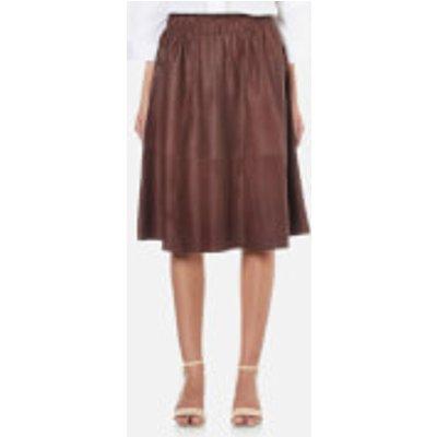 Selected Femme Women s Salta Leather Skirt   Fudge   EU 34 UK 6   Brown - 5713238322916