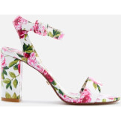 Dune Women s Marygold Peony Printed Patent Block Heeled Sandals   White   UK 7   White - 5054618925670