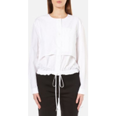 DKNY Women s Long Sleeve Cinch Waist Shirt Tail Pullover   White   L   White 795731693941