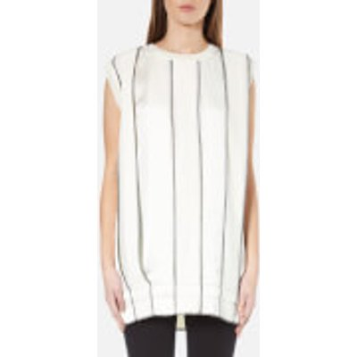 795731718491 | DKNY Women s Sleeveless Reversible Panelled Tunic with Drawcord and Exposed Label   Gesso Black   M   White Black