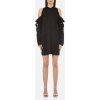 DKNY Women s Long Sleeve Cold Shoulder Dress with Bonded Raw Edges   Black   S   Black - 795731753058