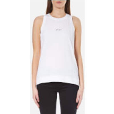 DKNY Women s Sleeveless Crew Neck Tank with Bonded Hems and Logo   White   L   White 795731734774