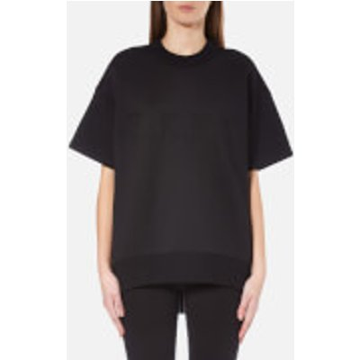 DKNY Women s Short Sleeve Pullover with Front Logo and Rib Trims   Black   M L   Black 795731736334