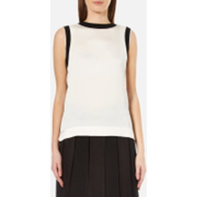 795731715377 | DKNY Women s Sleeveless Mixed Media Tank with Combo Detail   Gesso Black   L   White Black