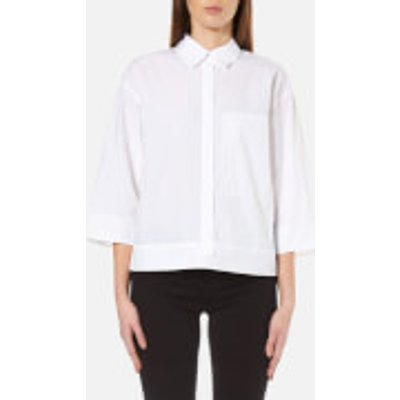 DKNY Women s Pure 3 4 Sleeve Shirt with Hidden Placket and Pocket   White   M   White - 795731693736