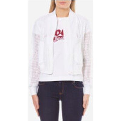 Love Moschino Women s Lace Effect Bomber Jacket   Optical White   IT 44 UK 12   White - 8056682606162