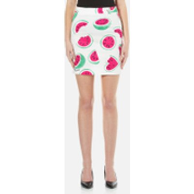 Love Moschino Women s All Over Heart Watermelon Print Skirt with Logo   White Watermelon   IT 42 UK 10   White - 8056682733738