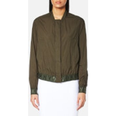 795731827032 | DKNY Women s Long Sleeve Bomber Jacket with Elastic Logo Trims   Military   M   Green