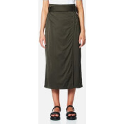 DKNY Women s Wrap Skirt with Side Buttons and Self Belt   Military   UK 8   Green - 795731824062