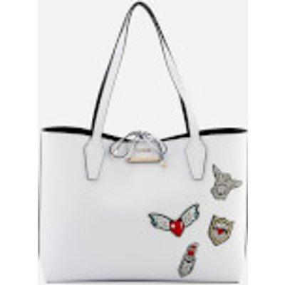 Guess Women s Bobbi Inside Out Tote Bag   White Black - 190231037477