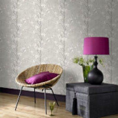 Boutique Sakura Cork Effect Metallic Cherry Blossom Wallpaper   Soft Grey White - 5011583338423