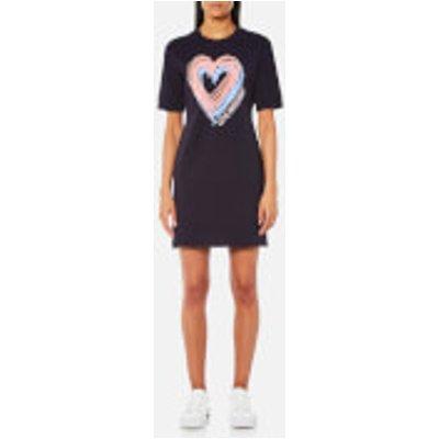 Love Moschino Women s Heart Short Sleeve Sweatshirt Dress   Navy   IT 42 UK 10   Navy - 8056682845837